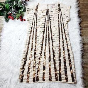 Forever 21 Womens Beige Sequin Midi Dress